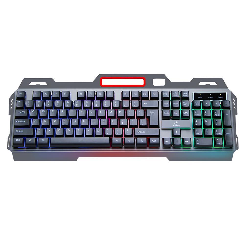 keyboards Jeqang JK-818 104 Keys Wired Mechanical Feeling Keyboard Colorful Rainbow Backlight Suspended Keycaps Metal Panel Waterproof E-sport Gaming Keyboard with Mobile Phone Holder HOB1818220 1