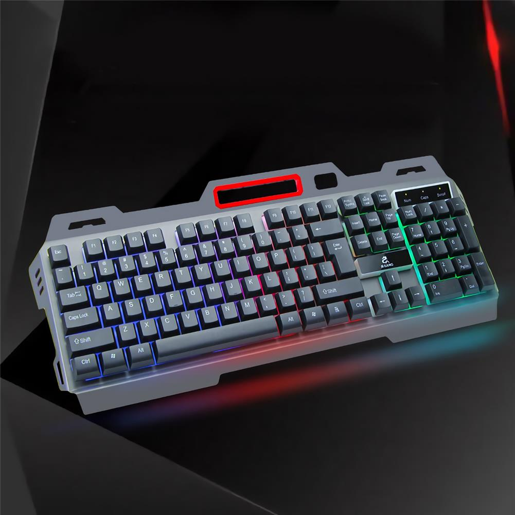 keyboards Jeqang JK-818 104 Keys Wired Mechanical Feeling Keyboard Colorful Rainbow Backlight Suspended Keycaps Metal Panel Waterproof E-sport Gaming Keyboard with Mobile Phone Holder HOB1818220 2 1