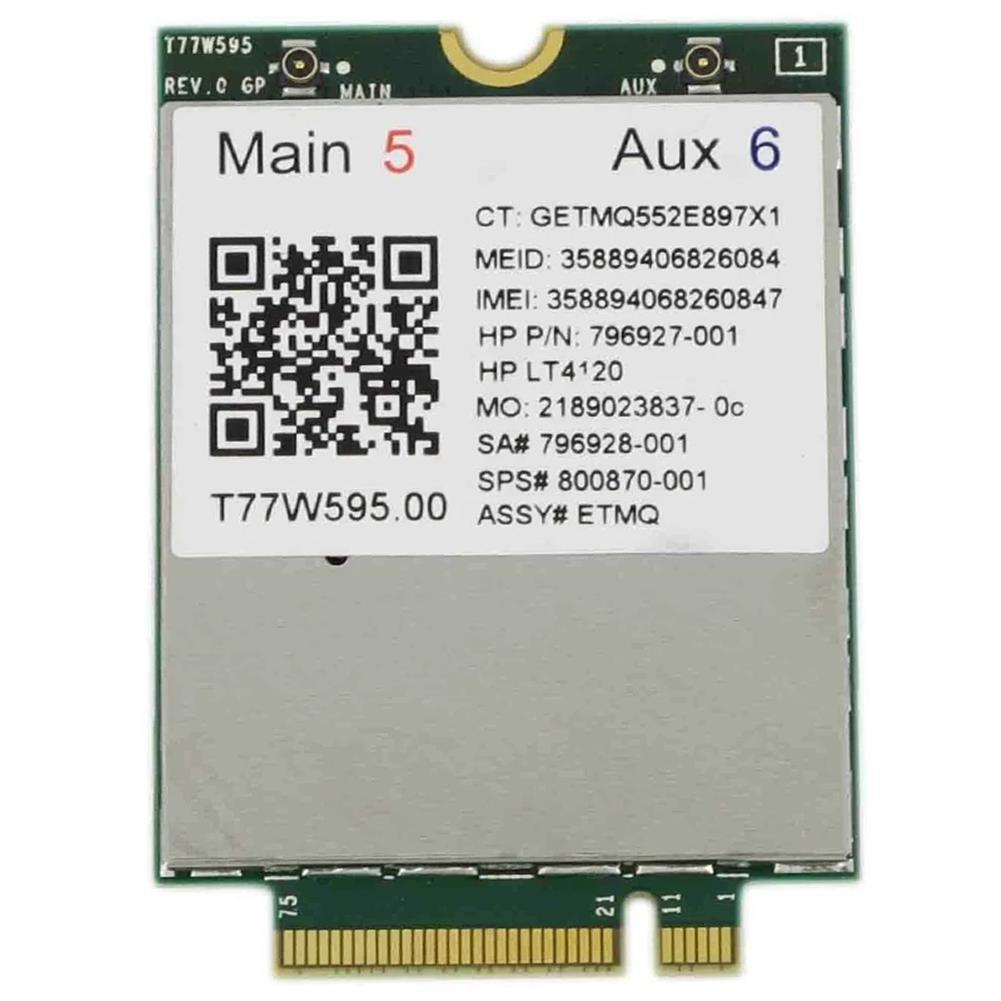 network-cards Lt4120 X5 LTE T77W595 796928-001 4G WWAN M.2 150Mbps LTE Modem for HP Elite X2 840 850 G3 640 650 645 G2 green HOB1818484 1 1