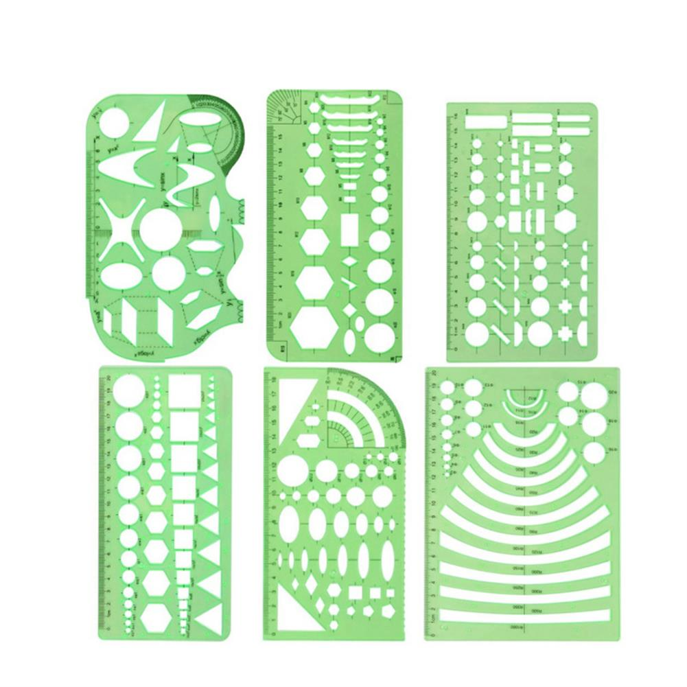 ruler 6pcs/set DIY Hollow Painting Ruler PET Template Design Circle Drawing Tools Suitable for School Students office Building Supplies HOB1820233 1