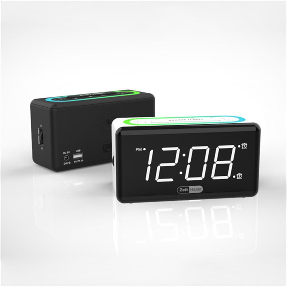desktop-off-surface-shelves Zeit Halter 7 Colors LED Light Alarm Clock Dual Clock Mobile Phone Charging Electronic Digital Sleepy Alarm Clock for Home Bedroom Use HOB1822418 1