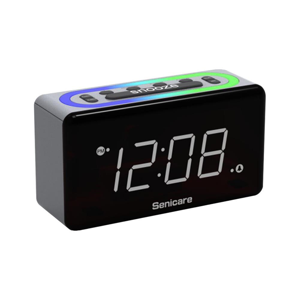 desktop-off-surface-shelves Zeit Halter 7 Colors LED Light Alarm Clock Dual Clock Mobile Phone Charging Electronic Digital Sleepy Alarm Clock for Home Bedroom Use HOB1822418 1 1