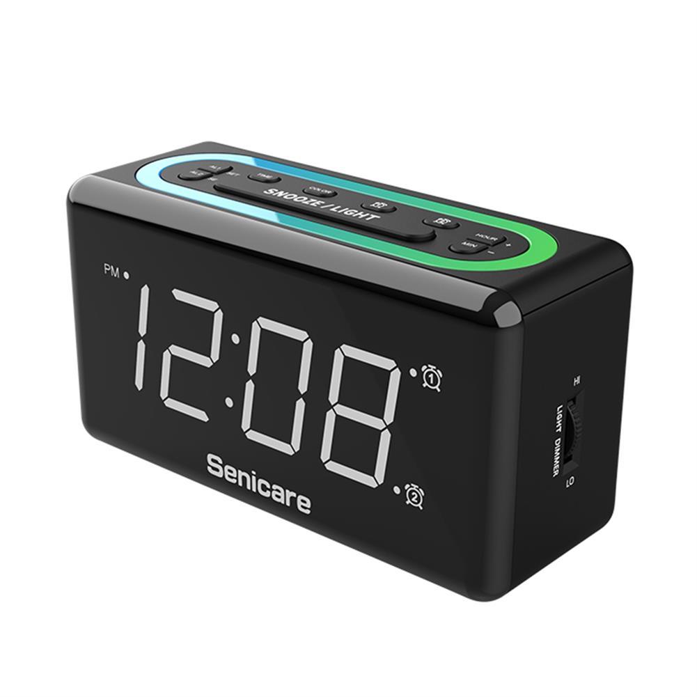 desktop-off-surface-shelves Zeit Halter 7 Colors LED Light Alarm Clock Dual Clock Mobile Phone Charging Electronic Digital Sleepy Alarm Clock for Home Bedroom Use HOB1822418 2 1