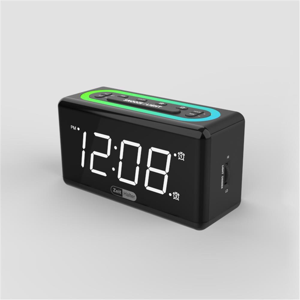 desktop-off-surface-shelves Zeit Halter 7 Colors LED Light Alarm Clock Dual Clock Mobile Phone Charging Electronic Digital Sleepy Alarm Clock for Home Bedroom Use HOB1822418 3 1