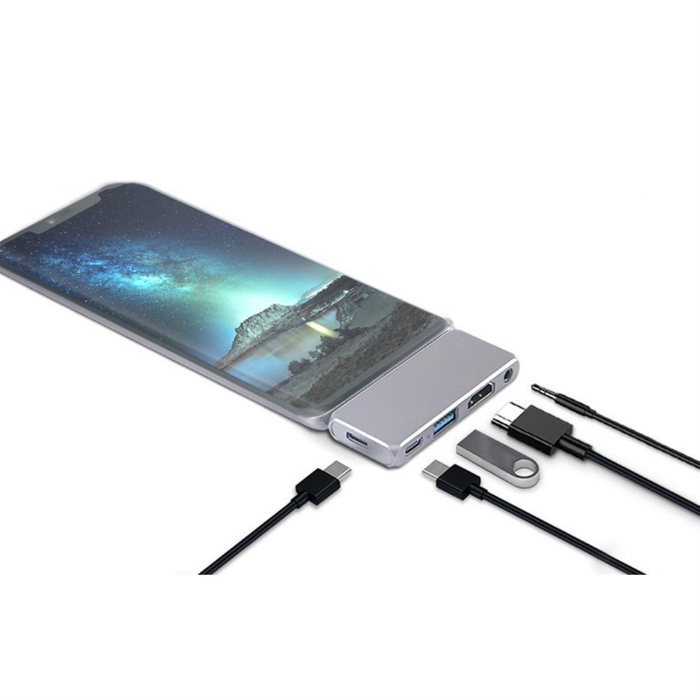 usb-hubs NFINT 180 Type-C Docking Station 4K@30Hz HDMI-compatible USB Hub USB3.0 3.5mm Plug for Switch Phone PC Laptop Pad HOB1824455 1 1