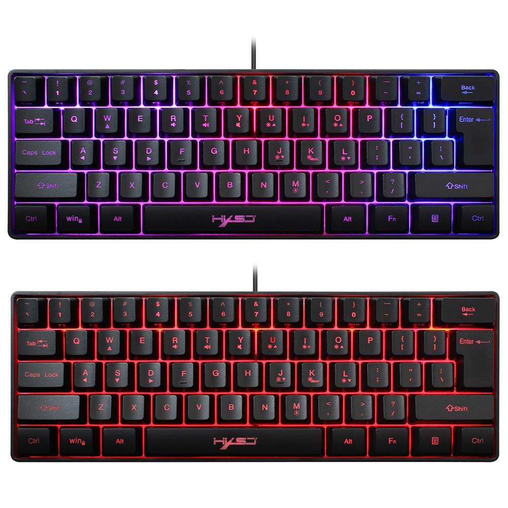 keyboards HXSJ V700 61 Keys Gaming Keyboard Wired RGB Backlit Multiple Shortcut Keys Mini Membrane Keyboard for Home office HOB1825502 3 1