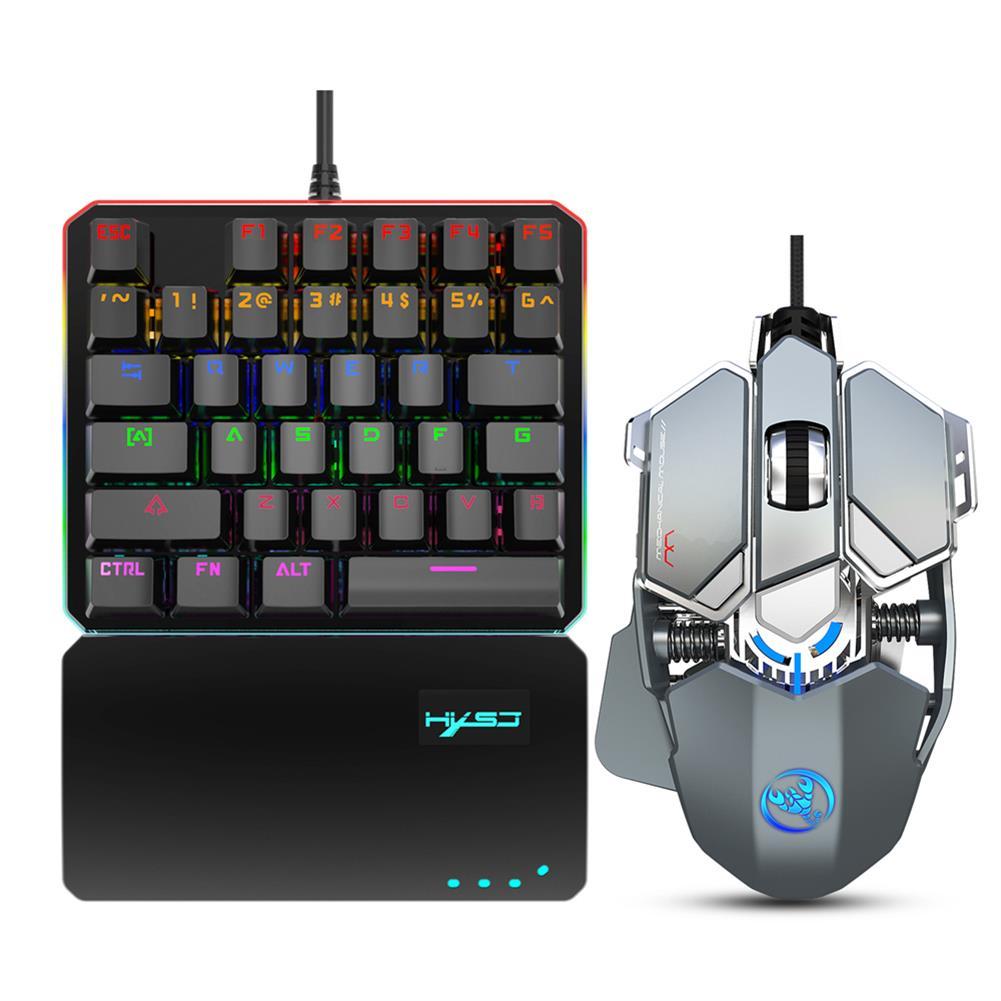 keyboards HXSJ V200+J600 Keyboard & Mouse Combo one-handed Blue Switch RGB Backlight Mechanical Keyboard 9-key Macro Programming 6400DPI Gaming Mouse Set HOB1825554 2 1