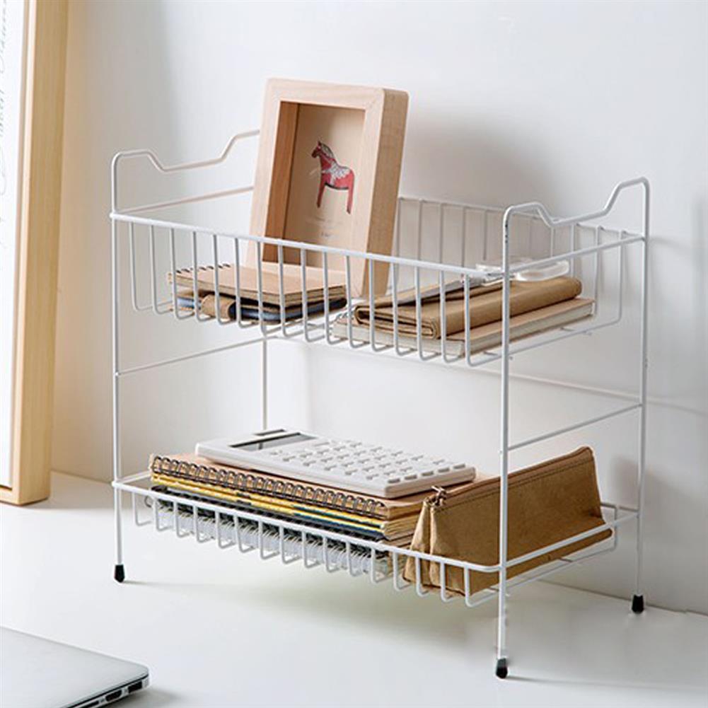 desktop-off-surface-shelves 2 Layers Desktop Iron Shelf Kitchen Sauces Flavoring Storage Bathroom Shampoo Cosmetics Storage Holder Home Decoration HOB1827890 2 1