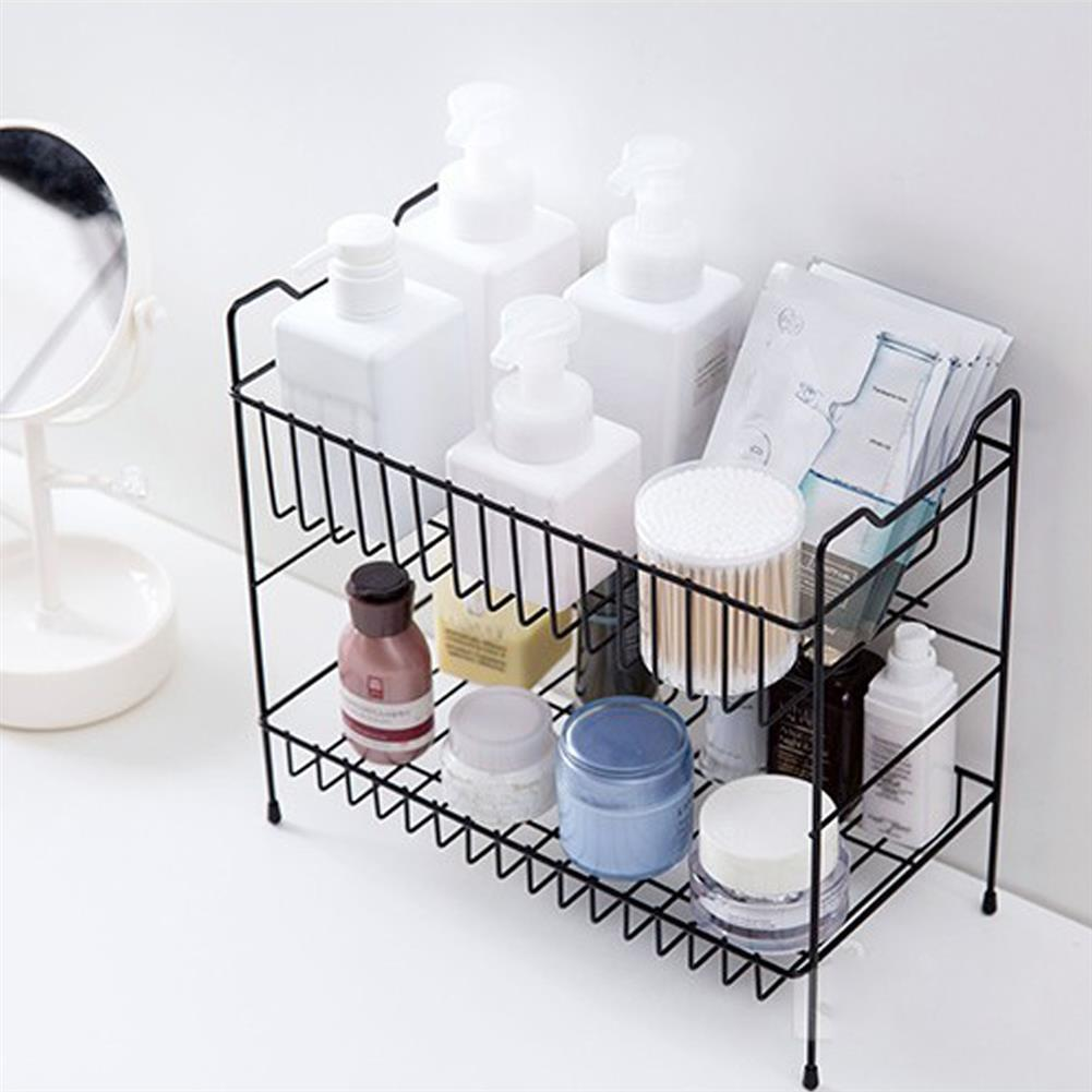 desktop-off-surface-shelves 2 Layers Desktop Iron Shelf Kitchen Sauces Flavoring Storage Bathroom Shampoo Cosmetics Storage Holder Home Decoration HOB1827890 3 1