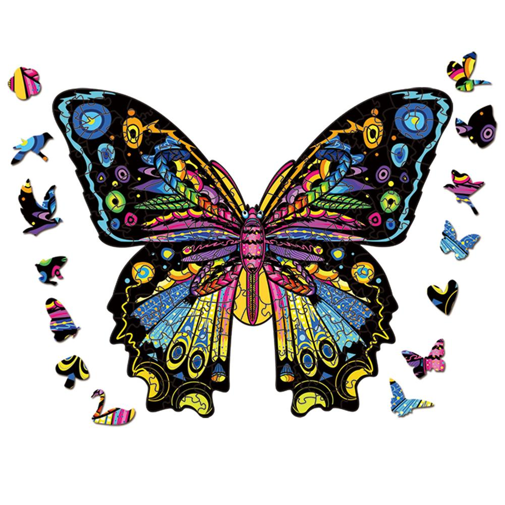 other-learning-office-supplies S/M/L 3D Wooden Butterfly Jigsaw Puzzle DIY Animal Shaped Toy Game Blocks Early Education Gift for Kid Children Adults Kids HOB1829478 1