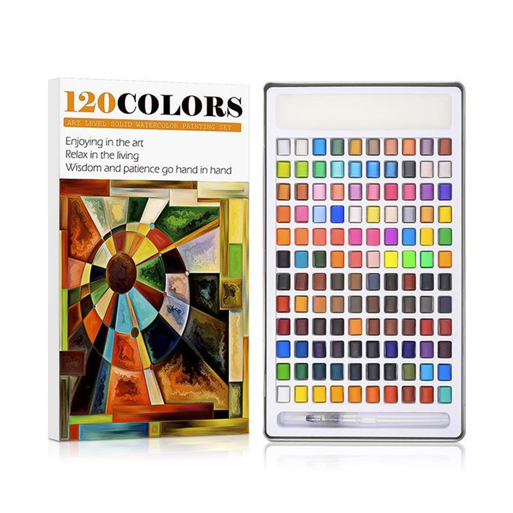 watercolor-paints 120 Color Solid Watercolor Pigment Set including Water Brush Macaron Fluorescent Filling Drawing Art Kit Stationery Supplies HOB1836985 1