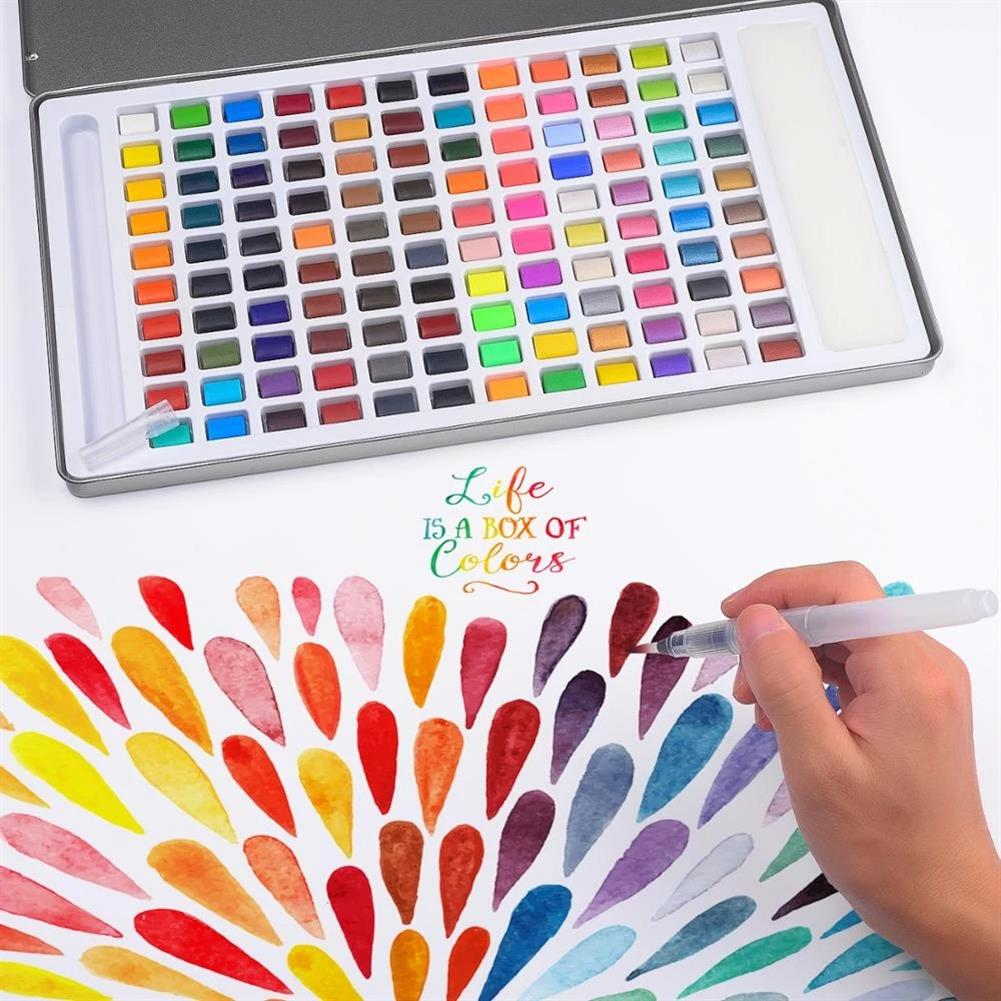 watercolor-paints 120 Color Solid Watercolor Pigment Set including Water Brush Macaron Fluorescent Filling Drawing Art Kit Stationery Supplies HOB1836985 1 1