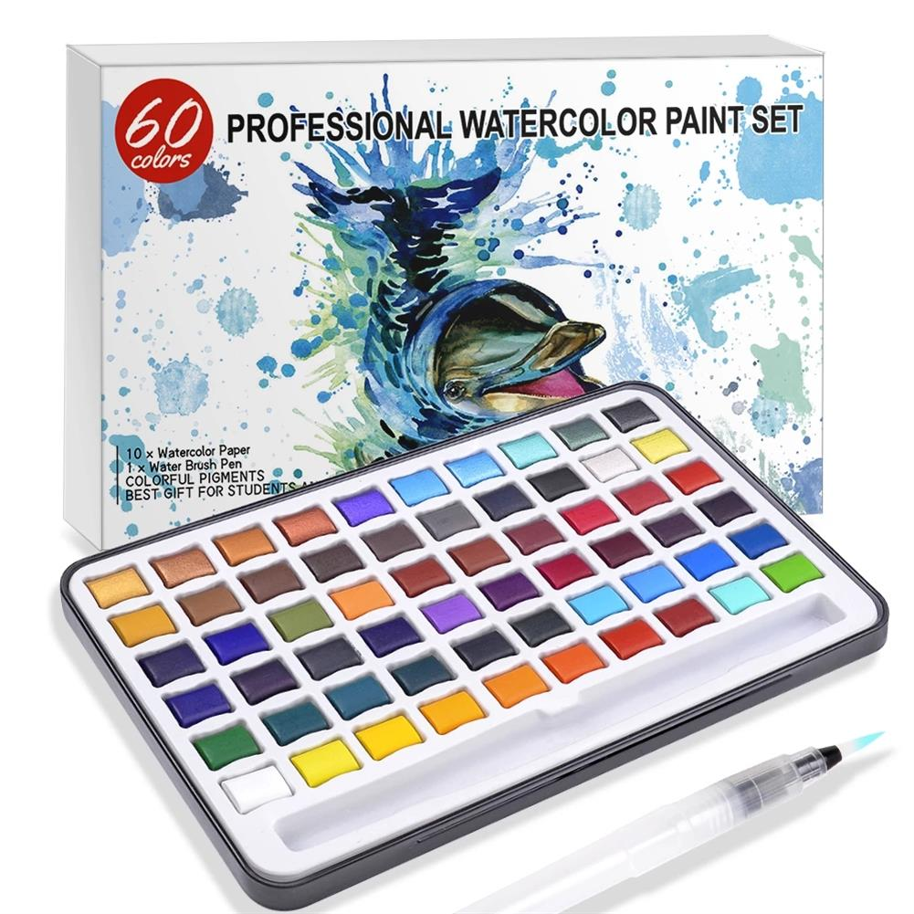 watercolor-paints 60 Color Solid Watercolor Pigment Set including Water Brush Shiny Glitter Metallic Color Filling Drawing Art Kit Stationery Supplies HOB1836987 1