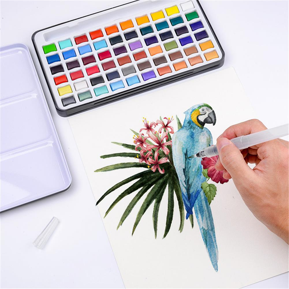 watercolor-paints 60 Color Solid Watercolor Pigment Set including Water Brush Shiny Glitter Metallic Color Filling Drawing Art Kit Stationery Supplies HOB1836987 1 1