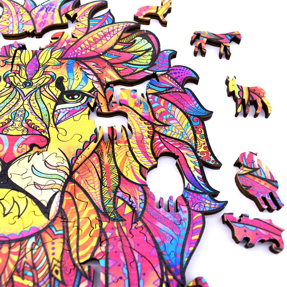 other-learning-office-supplies [New Version] A3/A4/A5 3D Wooden Lion Jigsaw Puzzle DIY Each Animal Shaped Crafts Toy Anti-stress Early Learning Education Gift for Kid and Adults HOB1837334 3 1