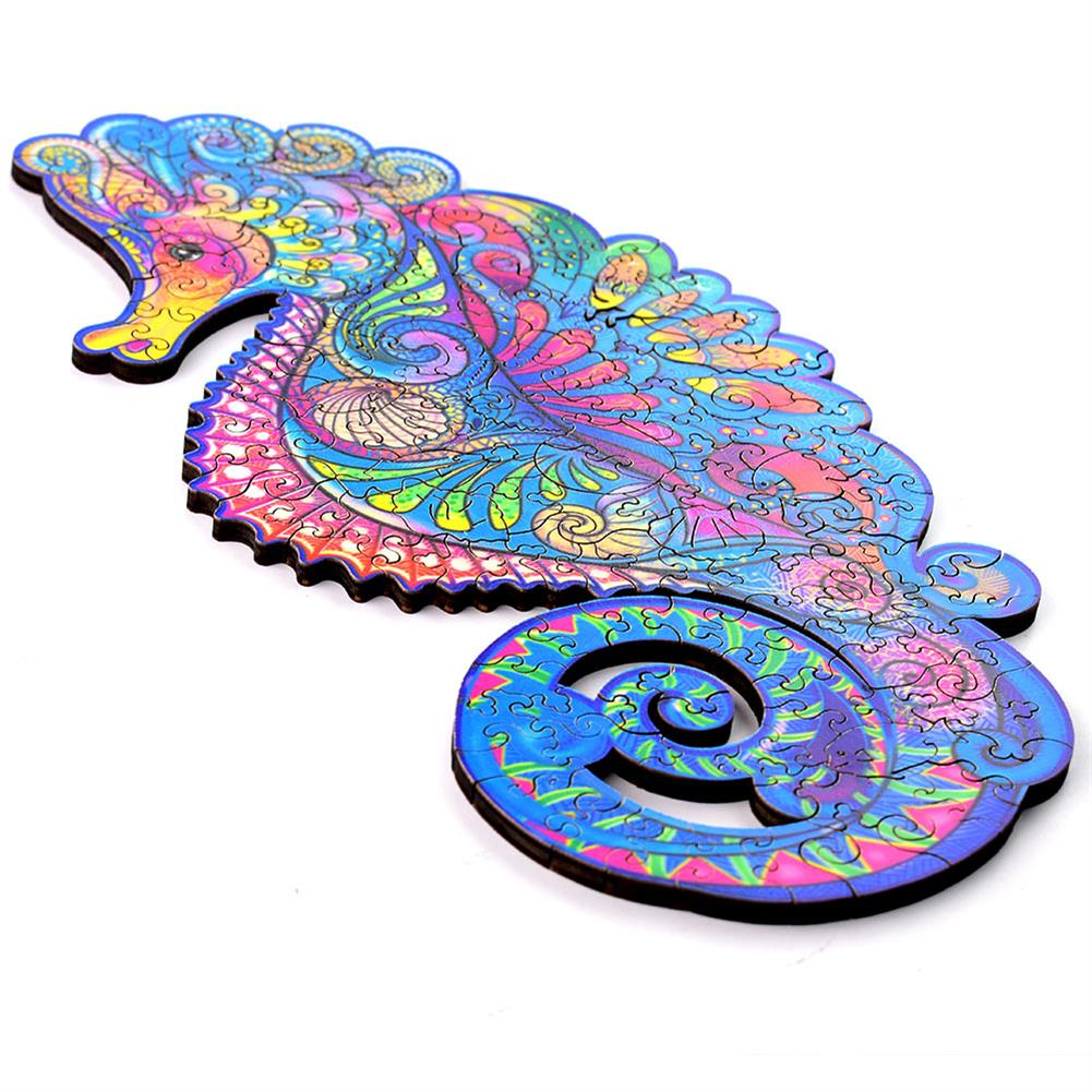 other-learning-office-supplies A3/A4/A5 3D Wooden Hippocampus Jigsaw Puzzle DIY Each Animal Shaped Crafts Toy Anti-stress Early Learning Education Gift for Kid and Adults HOB1837335 1 1