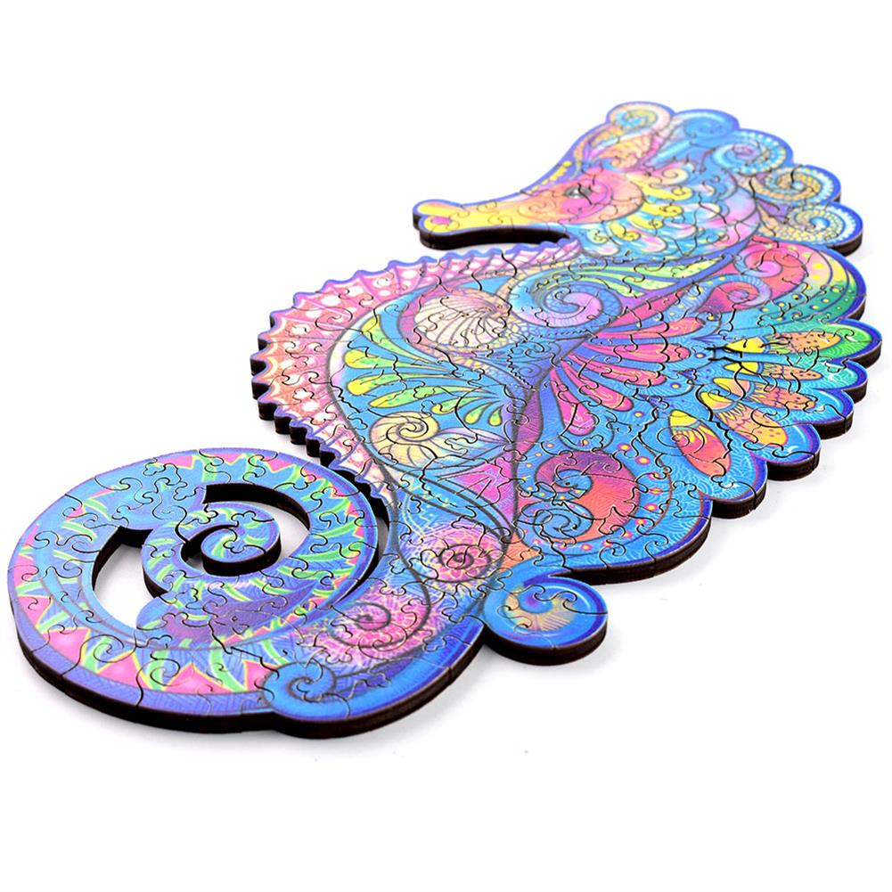other-learning-office-supplies A3/A4/A5 3D Wooden Hippocampus Jigsaw Puzzle DIY Each Animal Shaped Crafts Toy Anti-stress Early Learning Education Gift for Kid and Adults HOB1837335 2 1