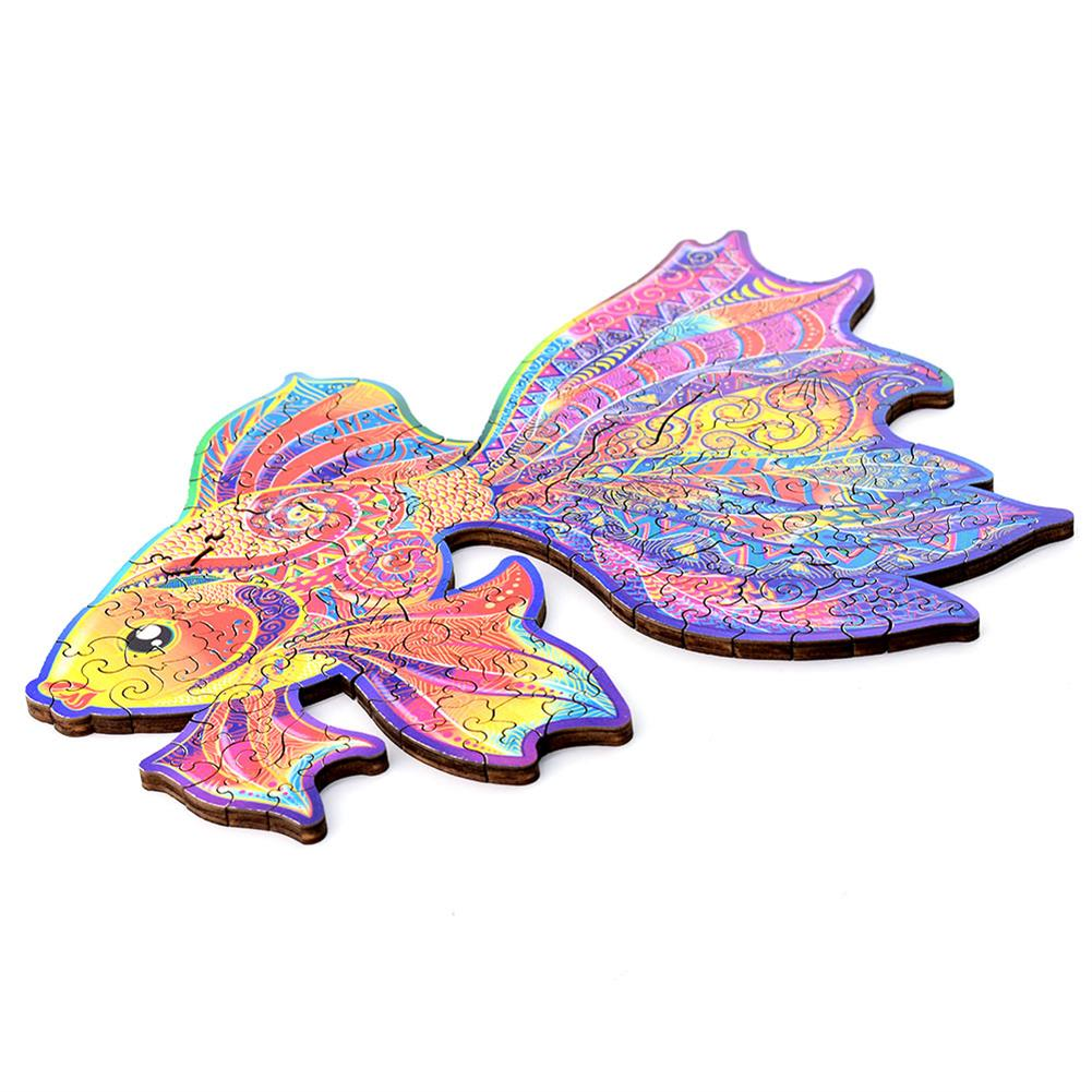 other-learning-office-supplies A3/A4/A5 3D Wooden Goldfish Jigsaw Puzzle DIY Each Animal Shaped Crafts Toy Anti-stress Early Learning Education Gift for Kid and Adults HOB1837336 1 1
