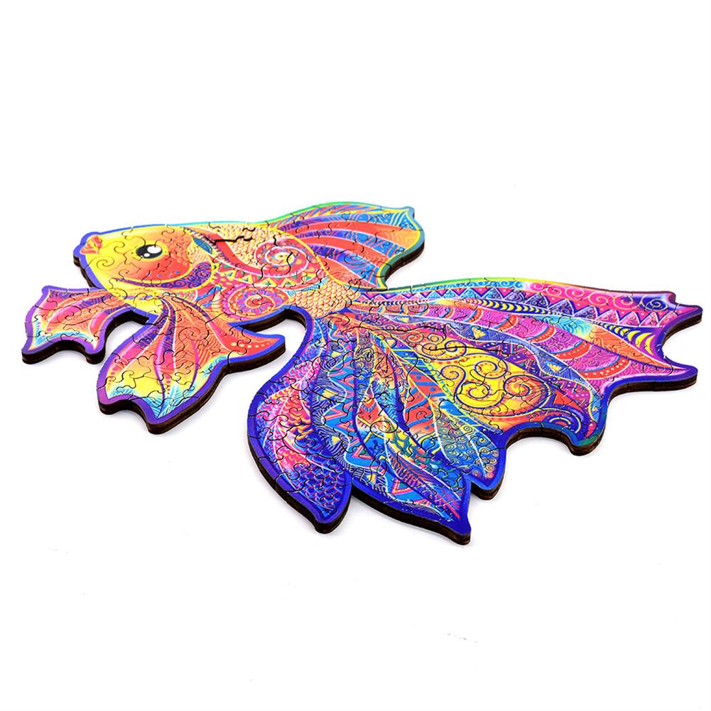 other-learning-office-supplies A3/A4/A5 3D Wooden Goldfish Jigsaw Puzzle DIY Each Animal Shaped Crafts Toy Anti-stress Early Learning Education Gift for Kid and Adults HOB1837336 2 1
