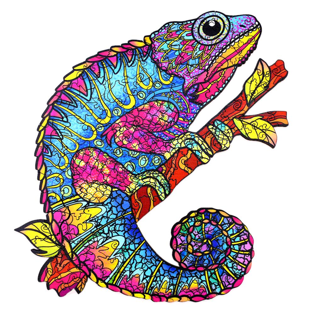 other-learning-office-supplies [New Version] A3/A4/A5 3D Wooden Chameleon Jigsaw Puzzle DIY Each Animal Shaped Toy Anti-stress Early Learning Education Gift for Kid and Adults HOB1837338 1