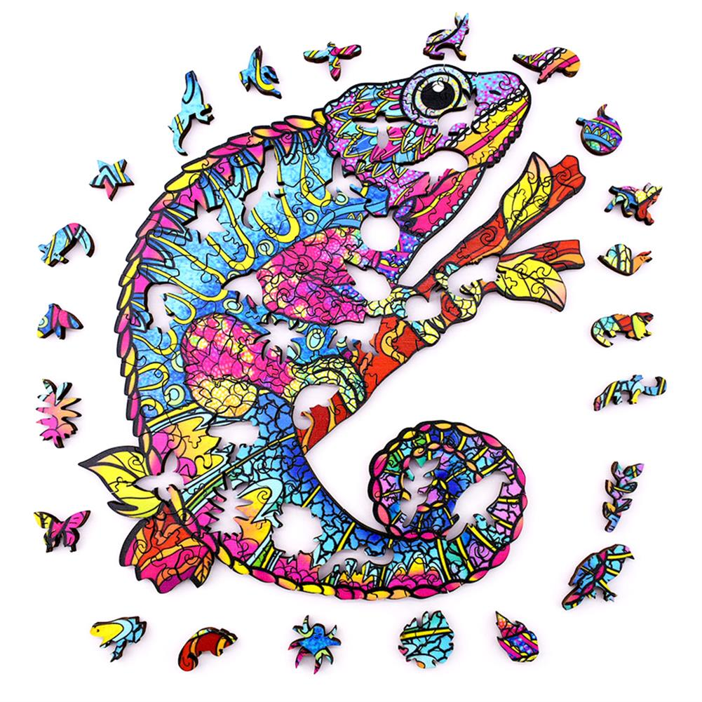 other-learning-office-supplies [New Version] A3/A4/A5 3D Wooden Chameleon Jigsaw Puzzle DIY Each Animal Shaped Toy Anti-stress Early Learning Education Gift for Kid and Adults HOB1837338 1 1