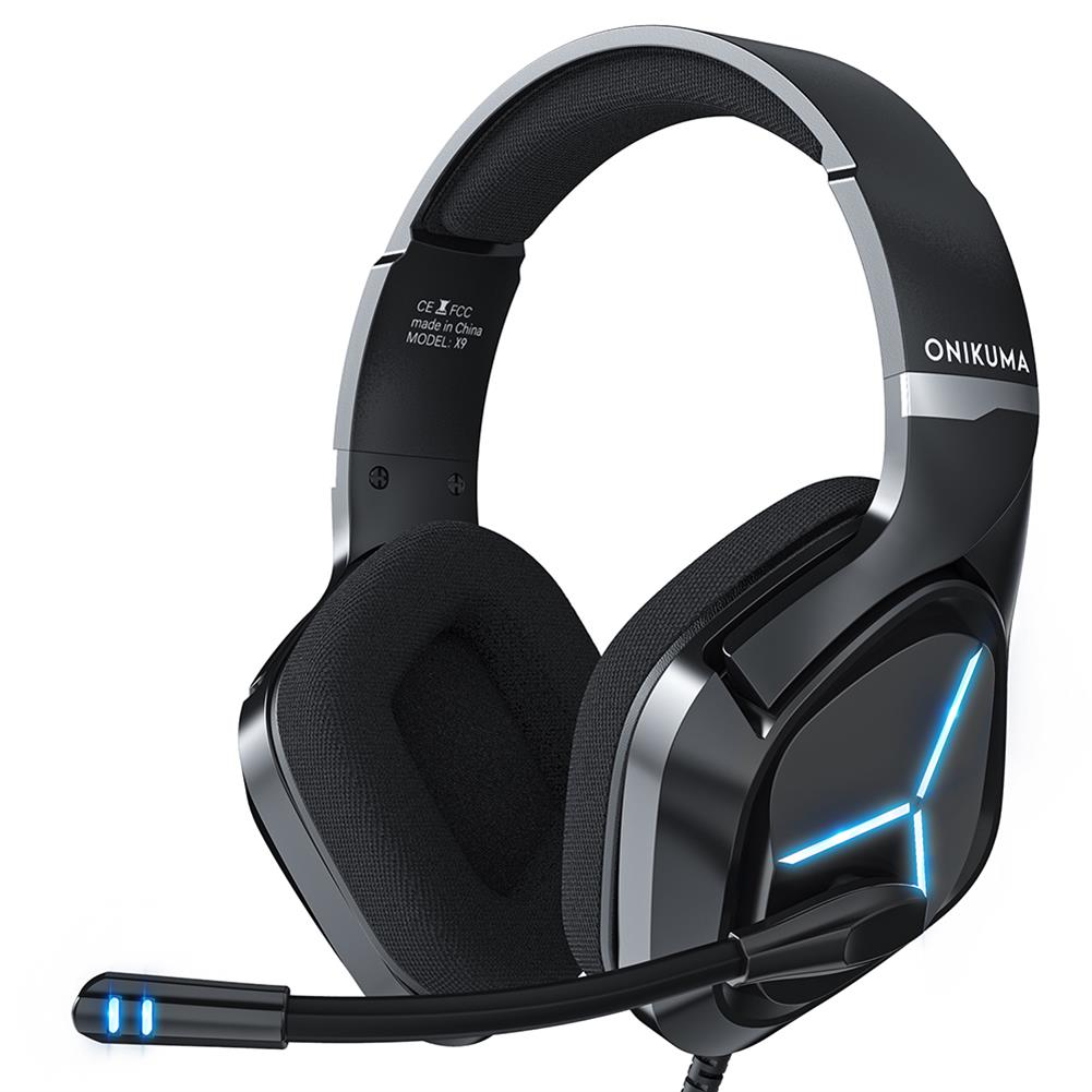 headphones ONIKUMA X9 Gaming Headset Gamer Headphones Surround Sound Stereo Wired Earphones USB Microphone Blue Light for PC Laptop HOB1837725 1