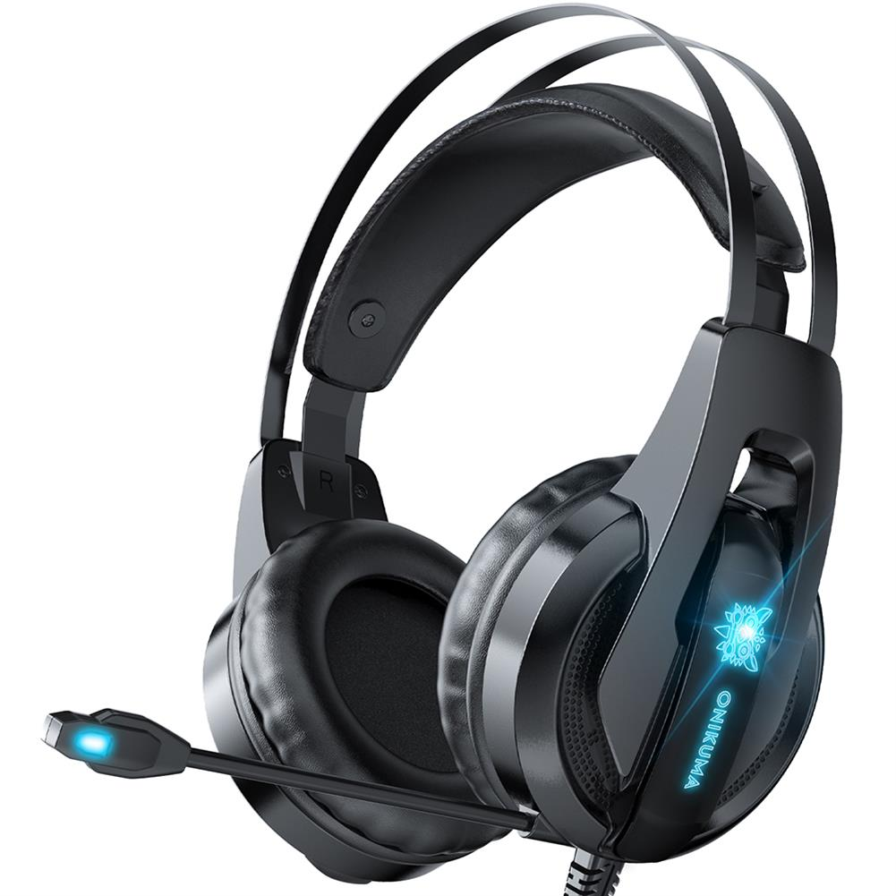 headphones ONIKUMA K16 Gaming Headset Gamer Headphones Surround Sound Stereo Wired Earphones USB Microphone Blue Light for PS4 Xbox PC Laptop HOB1837726 1
