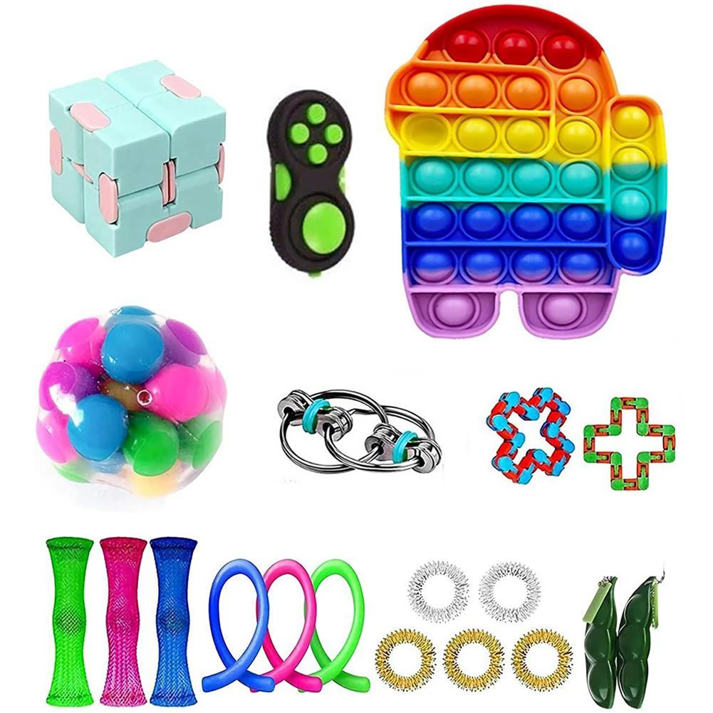 other-learning-office-supplies 20/28 pcs Fidget Bubble Toys Sensory Set DIY Decompression Artifact for Adults Girl Children Expression Emotion Stress Relief Antistress Toys HOB1838254 1