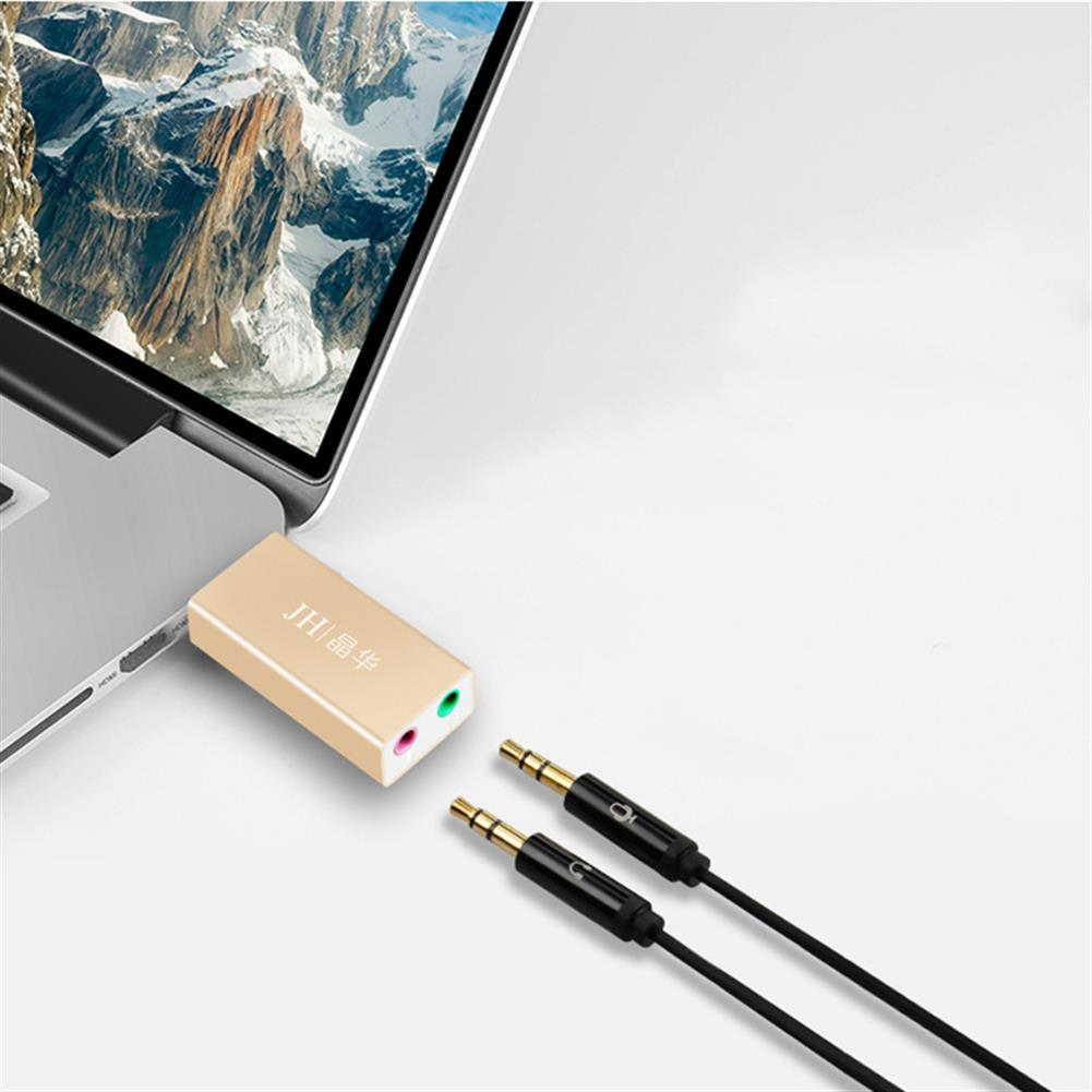 sound-card JH USB External Sound Card independent Drive-Free USB to 3.5mm Headset + Microphone Converter for PS4 Computer HOB1839815 1 1