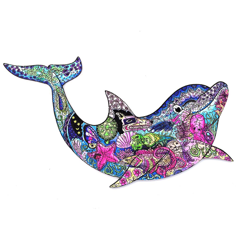 other-learning-office-supplies A3/A4/A5 3D Wooden Dolphin Jigsaw Puzzle DIY Each Animal Shaped Crafts Toy Anti-stress Early Learning Education Gift for Kid and Adults HOB1840004 1