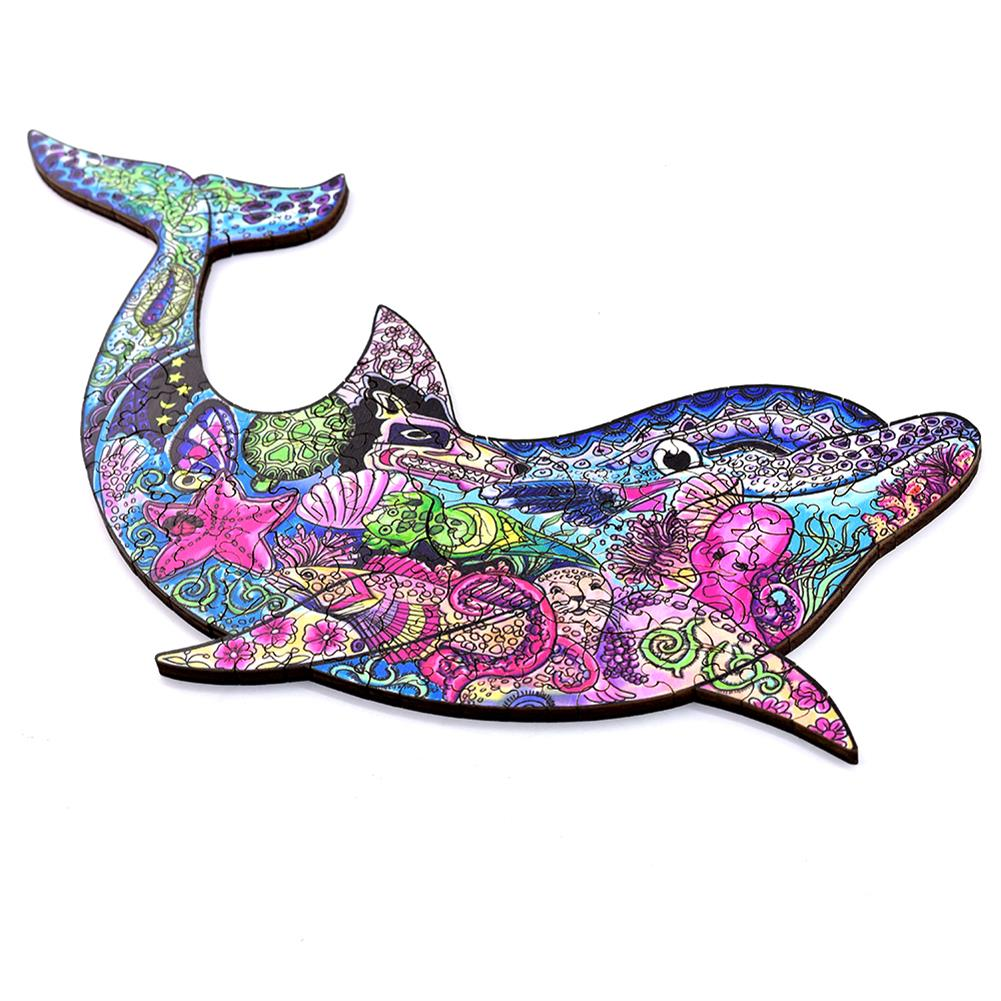 other-learning-office-supplies A3/A4/A5 3D Wooden Dolphin Jigsaw Puzzle DIY Each Animal Shaped Crafts Toy Anti-stress Early Learning Education Gift for Kid and Adults HOB1840004 1 1