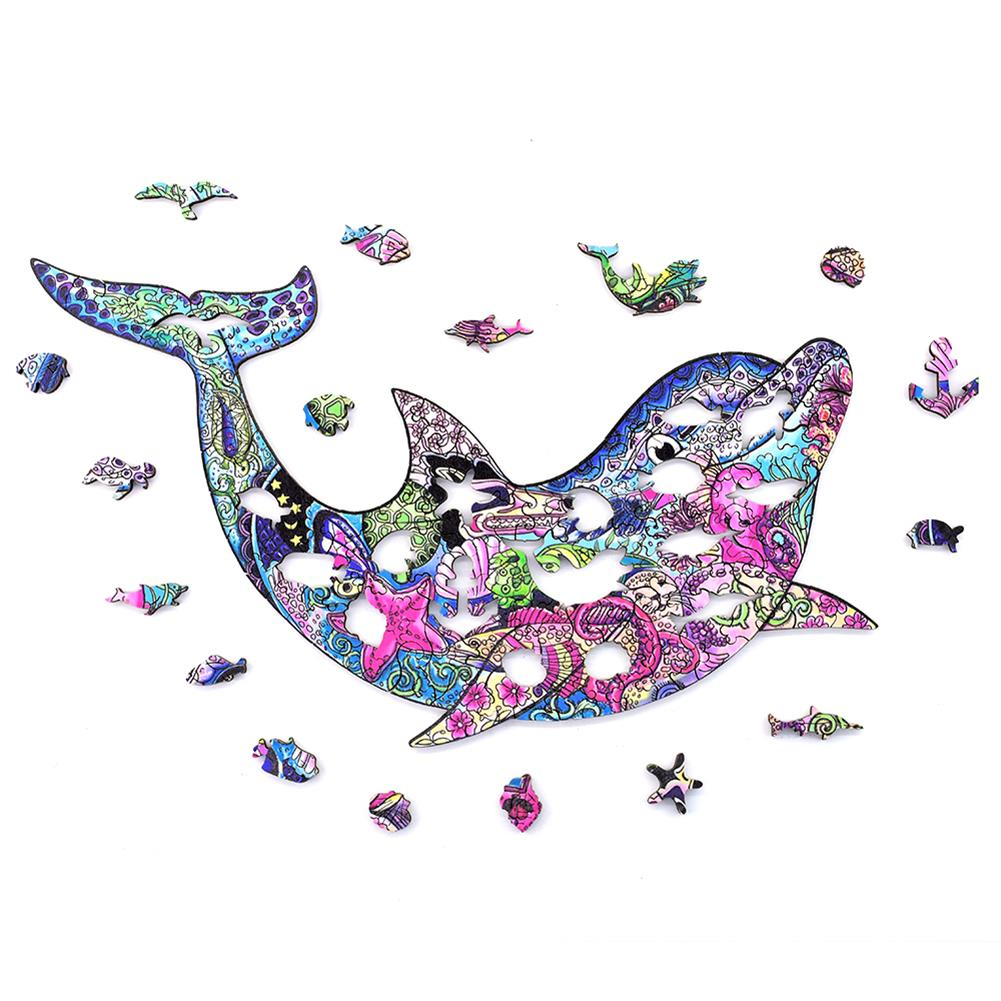 other-learning-office-supplies A3/A4/A5 3D Wooden Dolphin Jigsaw Puzzle DIY Each Animal Shaped Crafts Toy Anti-stress Early Learning Education Gift for Kid and Adults HOB1840004 2 1