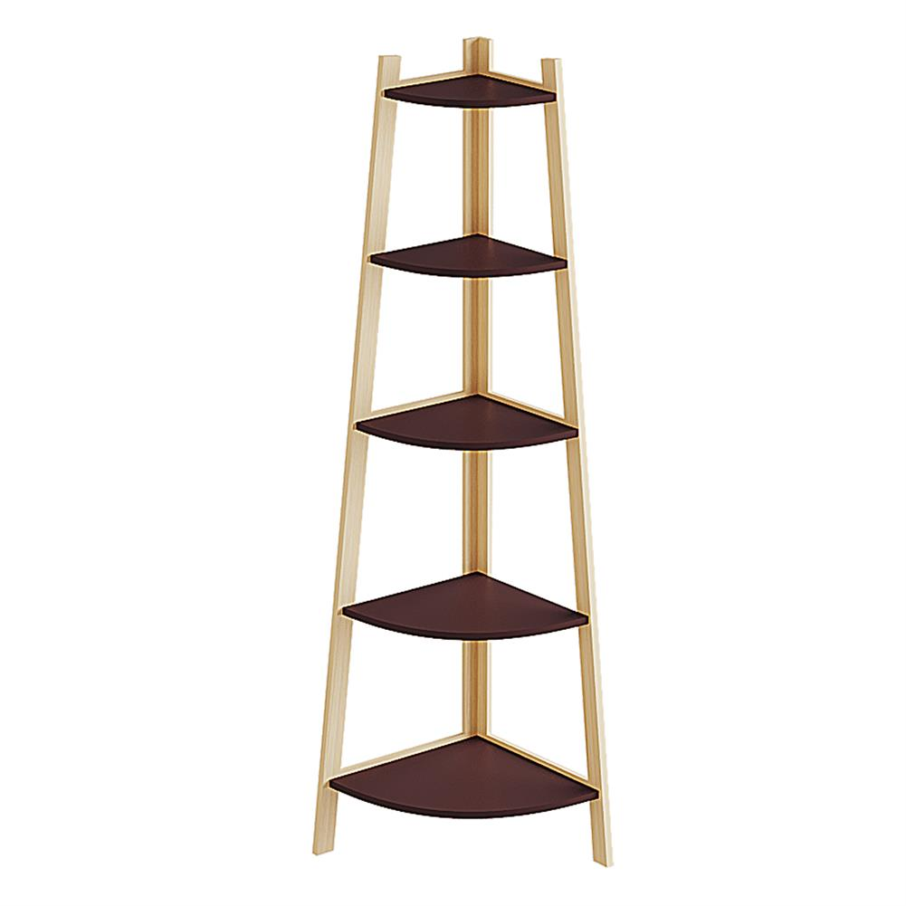 book-stands Stylish Corner Ladder Shelving Unit 5 Tier Wall Leaning Bookcase Storage Display Book Accessories Storage Stand HOB1840067 2 1