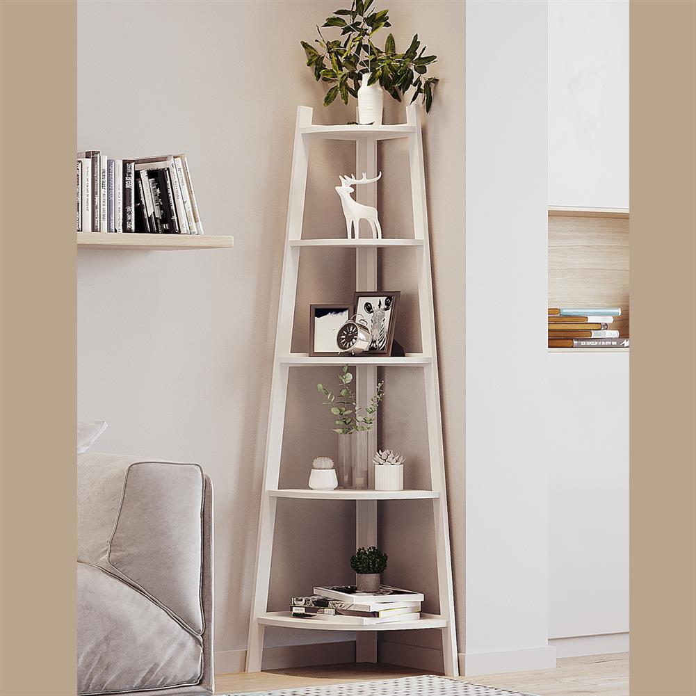 book-stands Stylish Corner Ladder Shelving Unit 5 Tier Wall Leaning Bookcase Storage Display Book Accessories Storage Stand HOB1840067 3 1
