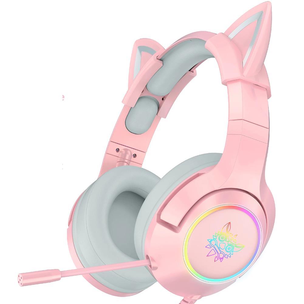 headphones ONIKUMA Pink Cat Ear Headset Virtual 7.1 Stereo Game Sound Noise Reduction Headphone RGB Luminous Adjustable Gaming Headset with Mic HOB1841117 1