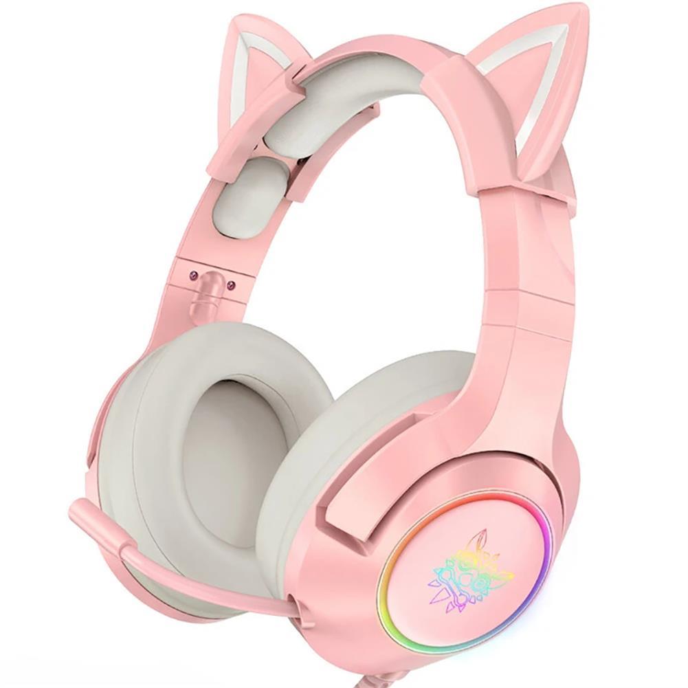 headphones ONIKUMA Pink Cat Ear Headset Virtual 7.1 Stereo Game Sound Noise Reduction Headphone RGB Luminous Adjustable Gaming Headset with Mic HOB1841117 1 1