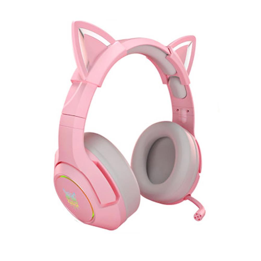 headphones ONIKUMA Pink Cat Ear Headset Virtual 7.1 Stereo Game Sound Noise Reduction Headphone RGB Luminous Adjustable Gaming Headset with Mic HOB1841117 2 1