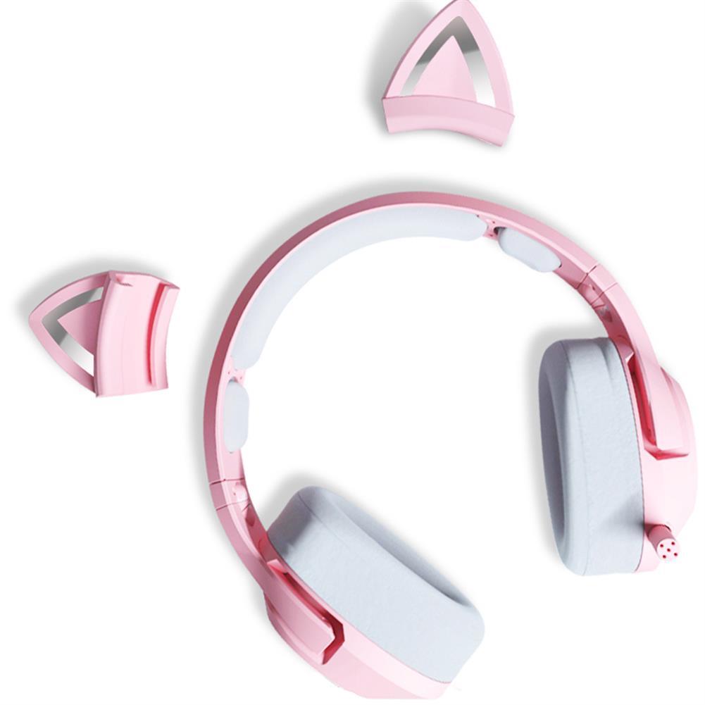 headphones ONIKUMA Pink Cat Ear Headset Virtual 7.1 Stereo Game Sound Noise Reduction Headphone RGB Luminous Adjustable Gaming Headset with Mic HOB1841117 3 1